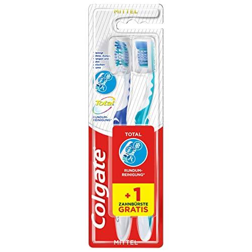 Colgate Zahnbürste Total Rundum-Reinigung, mittel, Doppelpack, reinigt Zahnoberflächen, Zunge, Wangen und bis tief in die Zahnzwischenräume