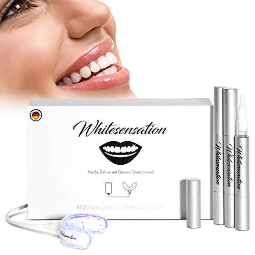 Whitesensation© Zahnaufhellung zum Zähne aufhellen [NEUSTE FORMEL] | Zahn Bleaching Set für weiße Zähne | Gegen Gelbe Zähne & Verfärbungen | Teeth-Whitening Kit zum Zähne...