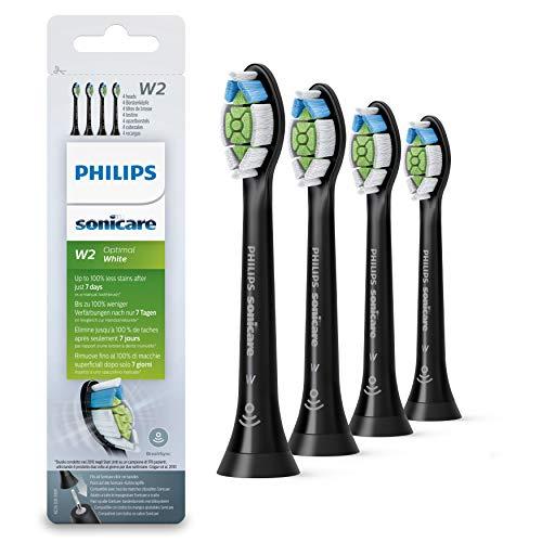 Philips Sonicare Original Aufsteckbürste Optimal White HX6064/11, 2x weniger Verfärbungen für weißere Zähne, 4 Stück