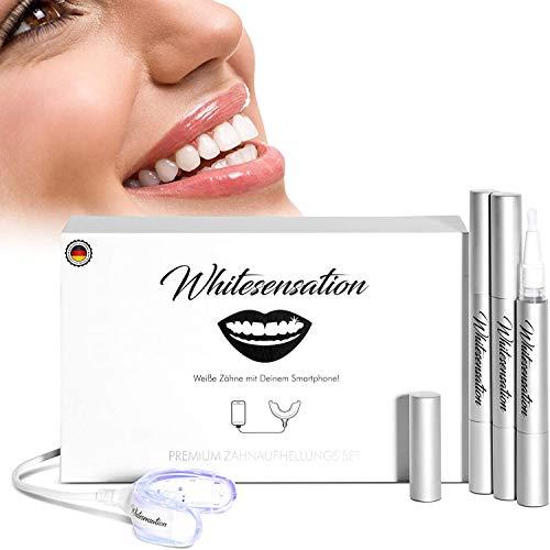 Whitesensation© Zahnaufhellung - Gerät mit Gel-Stiften und LED-Schiene - Bleaching Set mit USB für jedes Handy - Veganes Teeth Whitening Kit für weiße Zähne