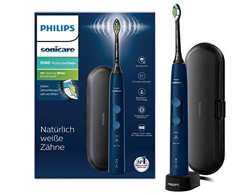 Philips Sonicare ProtectiveClean 5100 elektrische Zahnbürste HX6851/53 – Schallzahnbürste mit 3 Putzprogrammen, Andruckkontrolle, Timer & Reise-Etui – Blau