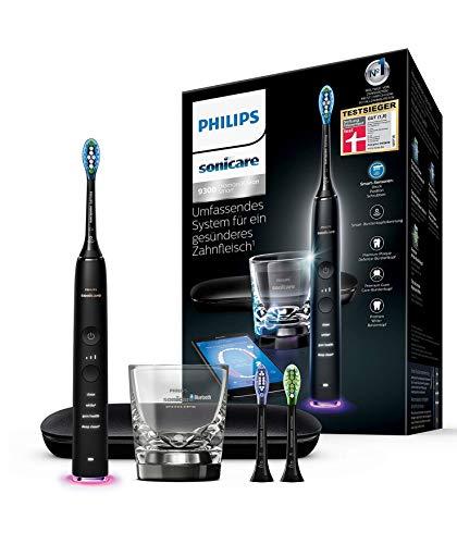 Philips Sonicare DiamondClean Smart Elektrische Zahnbürste mit Schalltechnologie HX9903/13, Ladeglas, Reiseetui, schwarz