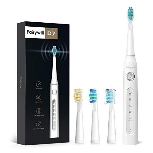 Fairywill Elektrische Zahnbürste Putzen Sie Ihre Zähne wie beim Zahnarzt Schallzahnbürste Eine Aufladung von 4 Stunden hält Min 30 Tage 5 Reinigungs-Modi 2 Minuten Timer 3...